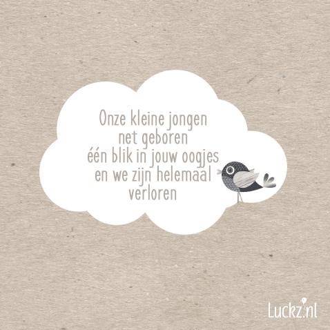 Genoeg Lieve geboorte tekst Onze kleine jongen net geboren. Luckz.nl #LD34