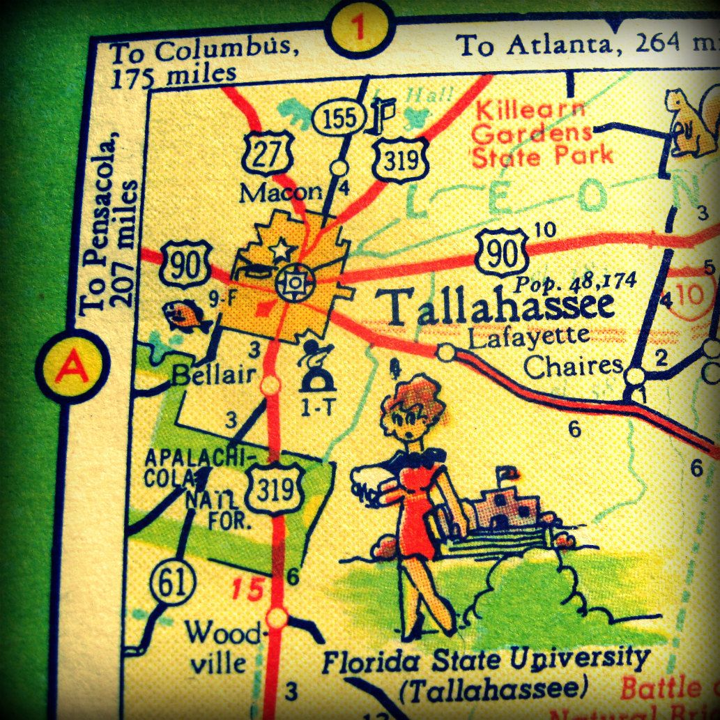 Tallahassee Map Art Tallahassee Map Print, FSU Decor, Dorm Decor ...
