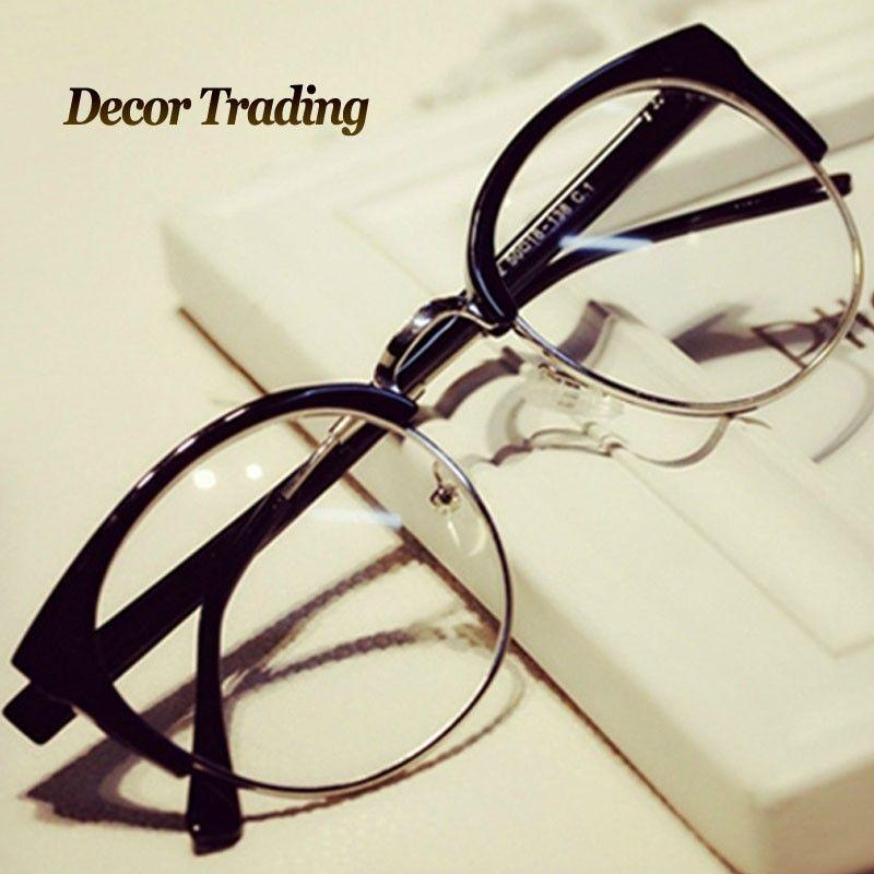 36f490faa55 Fashion Cat Eye Half Metal Frame Glasses For Women Men Retro Vintage Unisex  Glasses Big Frame Slim Face Eyewear Glasses 29417