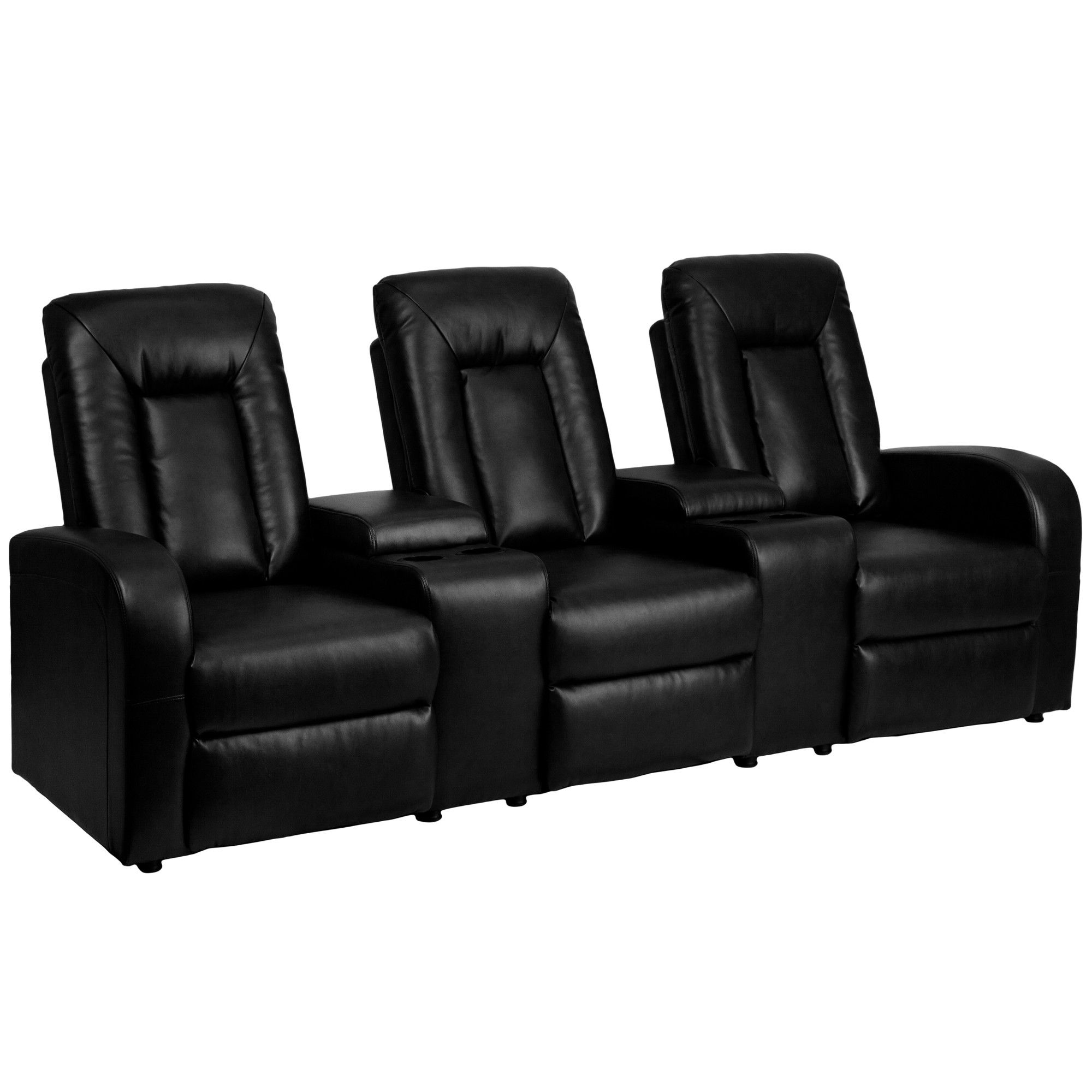 Leather 3 Seat Home Theater Recliner With Storage Console Home