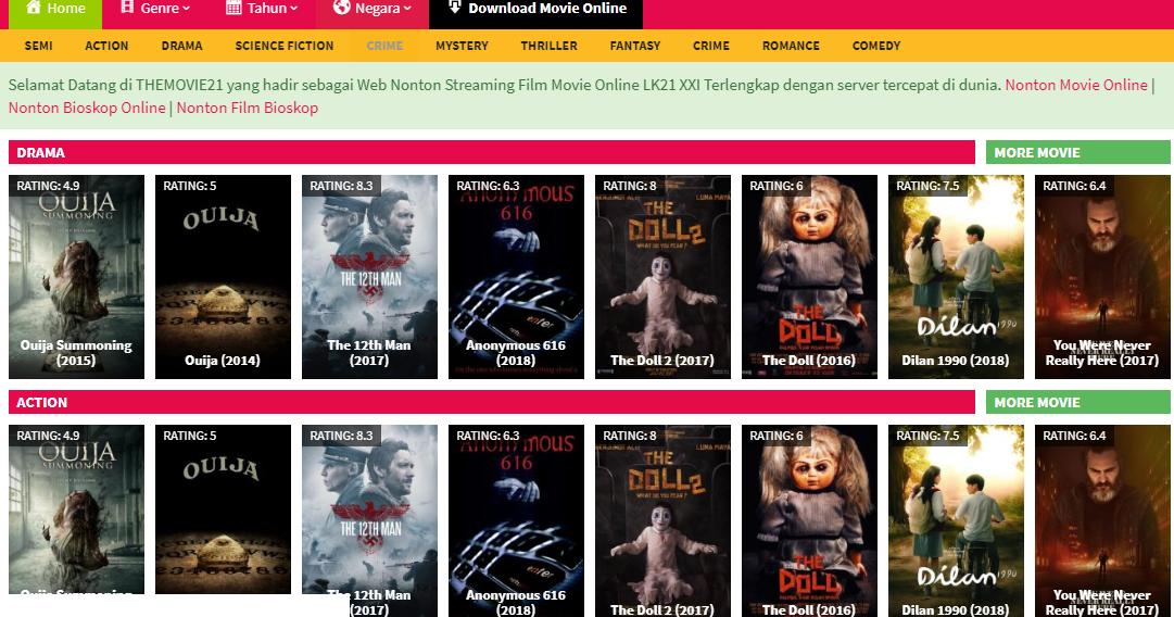 Daftar 5 Situs nonton Film Online subtitle indonesia