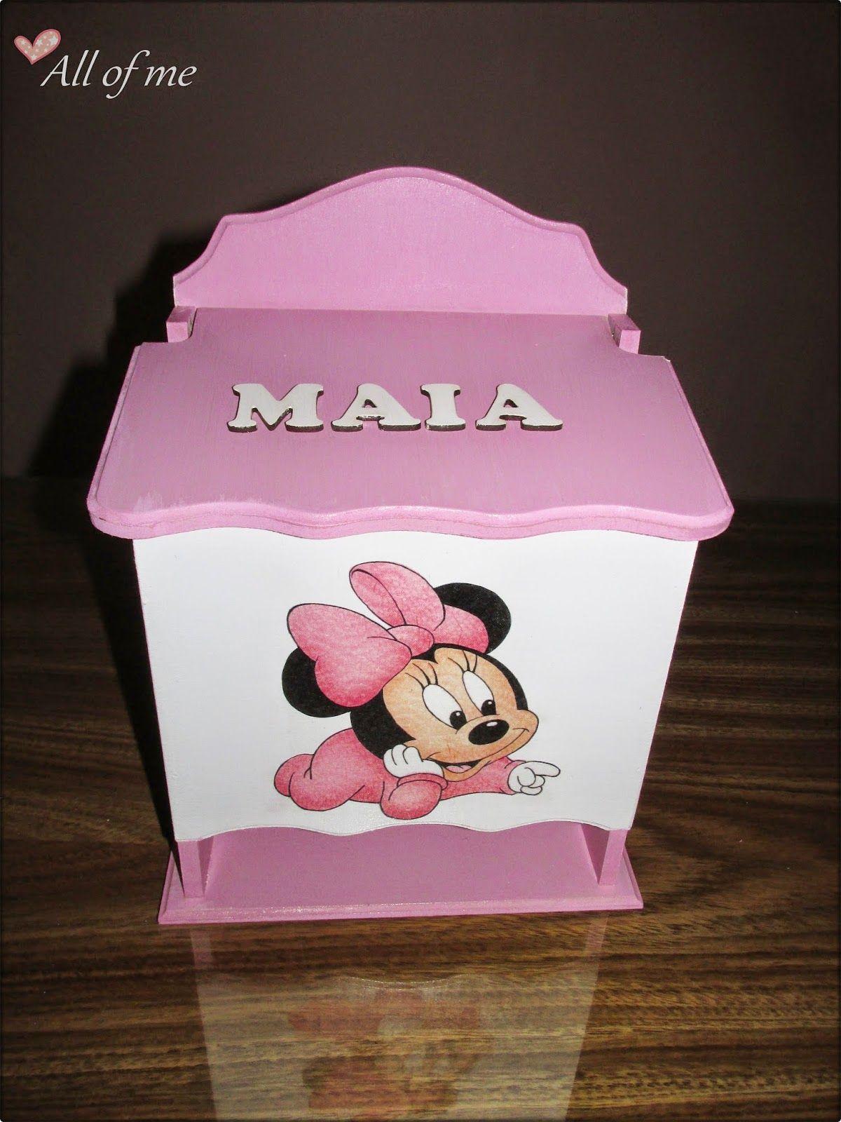 Pa alera minnie bebe decoupage artesania en madera - Cajas decoradas para bebes ...