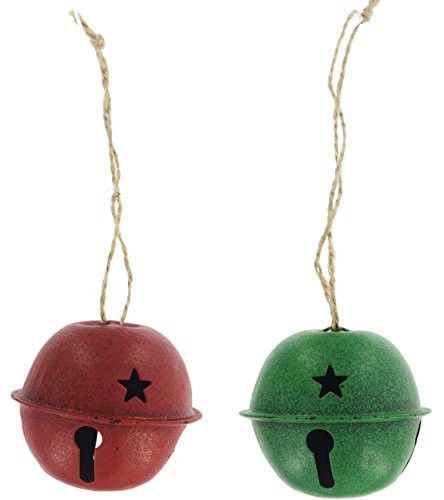 """Set of 2 Special T Imports 2.5"""" Metal Red & Green Bell Ornaments"""