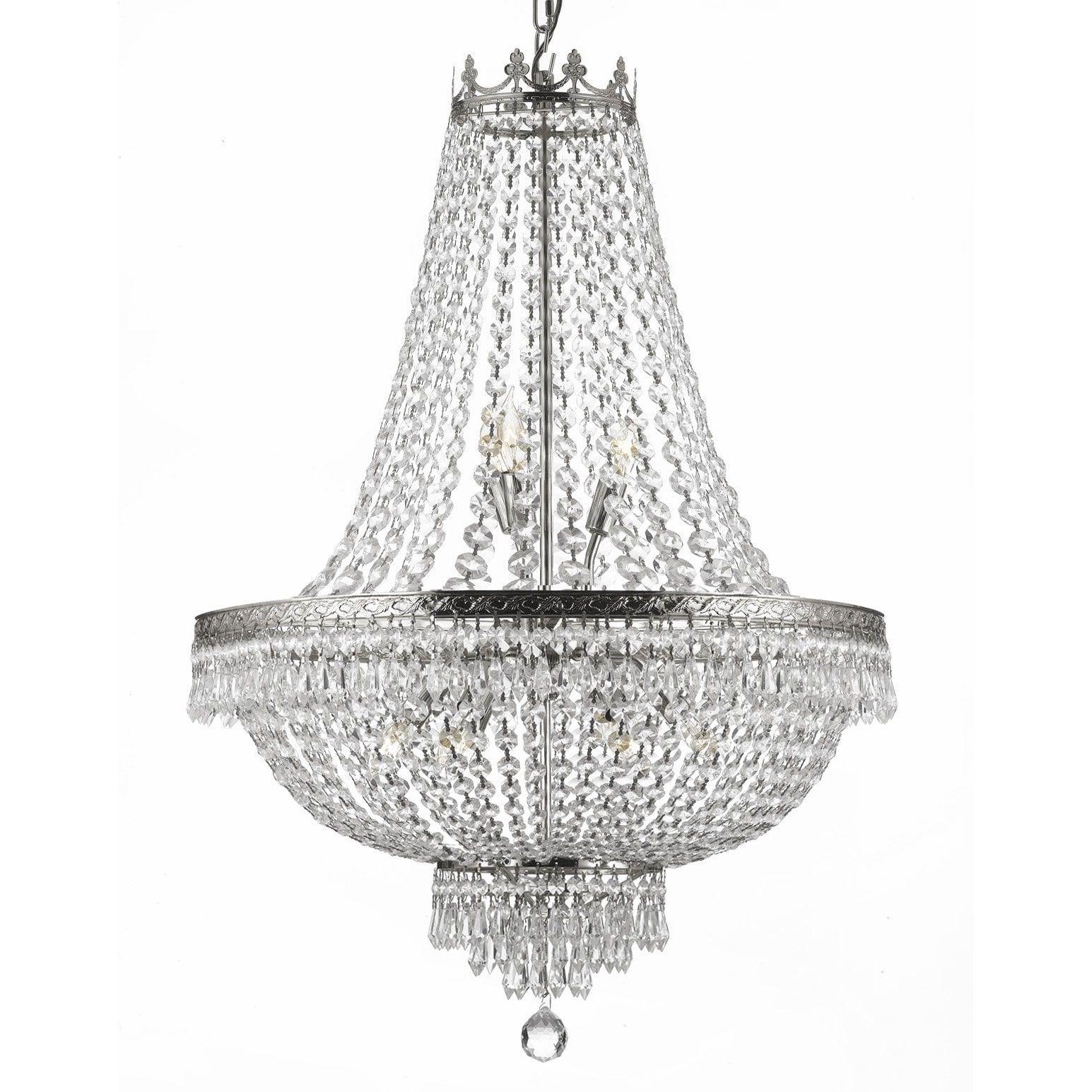 Gallery 9 Light Silver Empire Crystal Chandelier