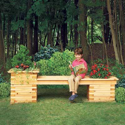 19 Beautiful Backyard Building Projects Planter bench, Backyard