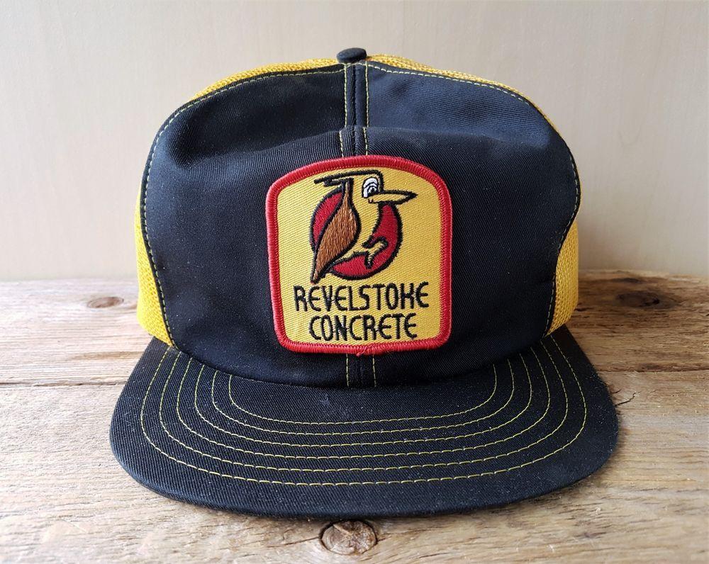 Vintage 80s REVELSTOKE CONCRETE Gold Mesh Trucker Hat Snapback Cap Canada  Patch  BaseballCap 4960482aaa93