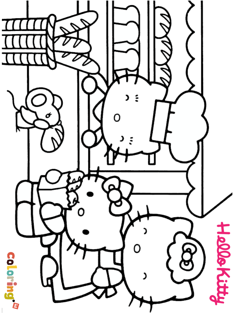 Hello Kitty At Bakery Shop Coloring Page Thousands Of Coloring Pages And Printable Pages Of Ca Hello Kitty Colouring Pages Hello Kitty Coloring Kitty Coloring