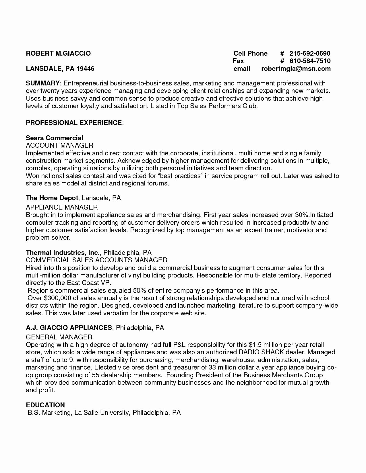 Fresh fair outside sales resume summary about outside