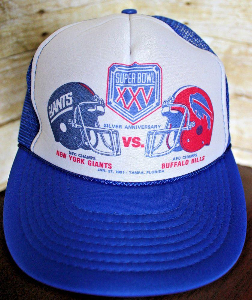 fbf9a5a9dfb ... sweden vtg 90s nfl buffalo bills super bowl xxv giants mesh trucker hat  cap nos royalpacific