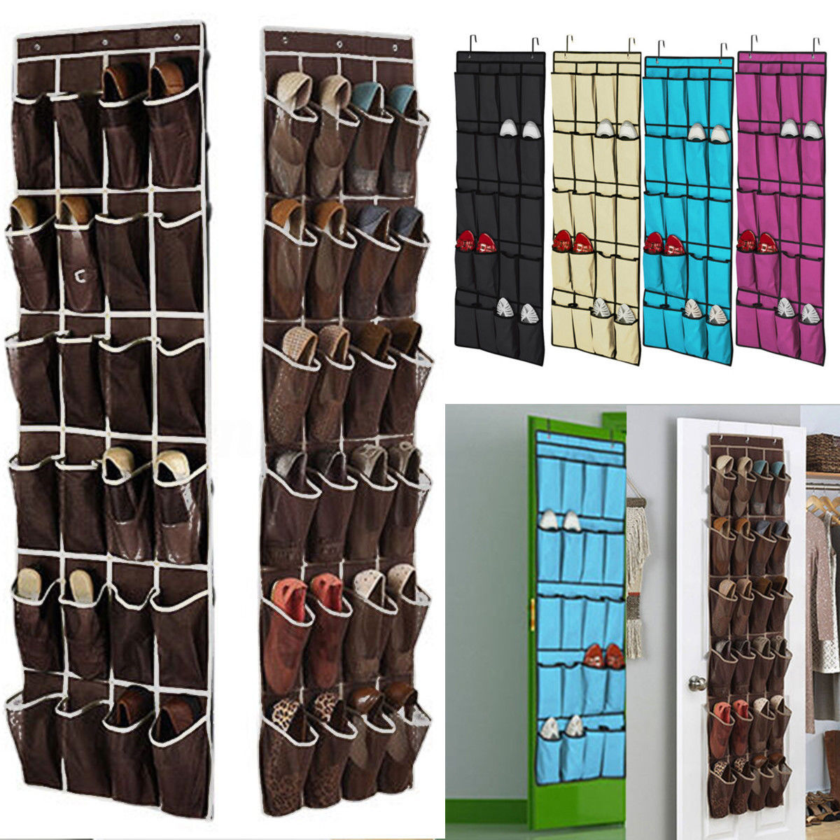 pockets space door hanging shoes organizer mesh