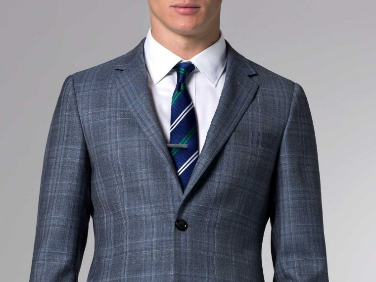 Indochino The Nanotech Gray & Blue Plaid Suit $ 5 9 9 | Hommes ...