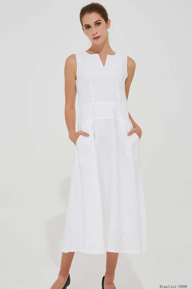 Linen Dress Pockets White Dress Women Summer Dress Etsy In 2020 White Dresses For Women Summer Dresses For Women Casual Dresses For Women