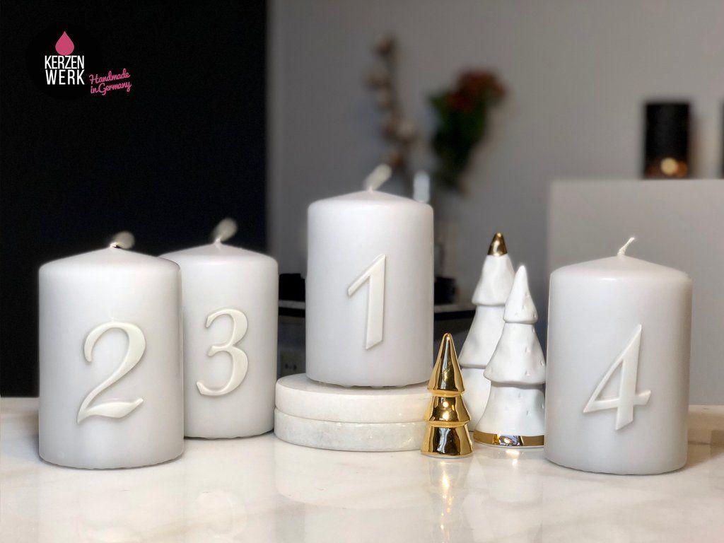 4 Weihnachtskerzen 4 Adventskerze Schlichte Zahlen 1 4