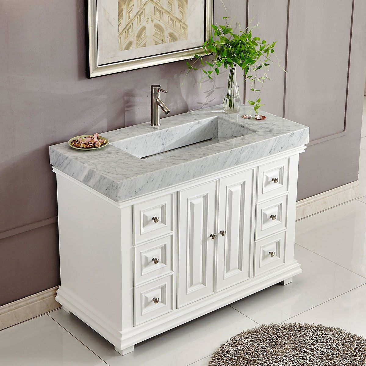 48 Inch White Finish Contemporary Bathroom Vanity Integrated