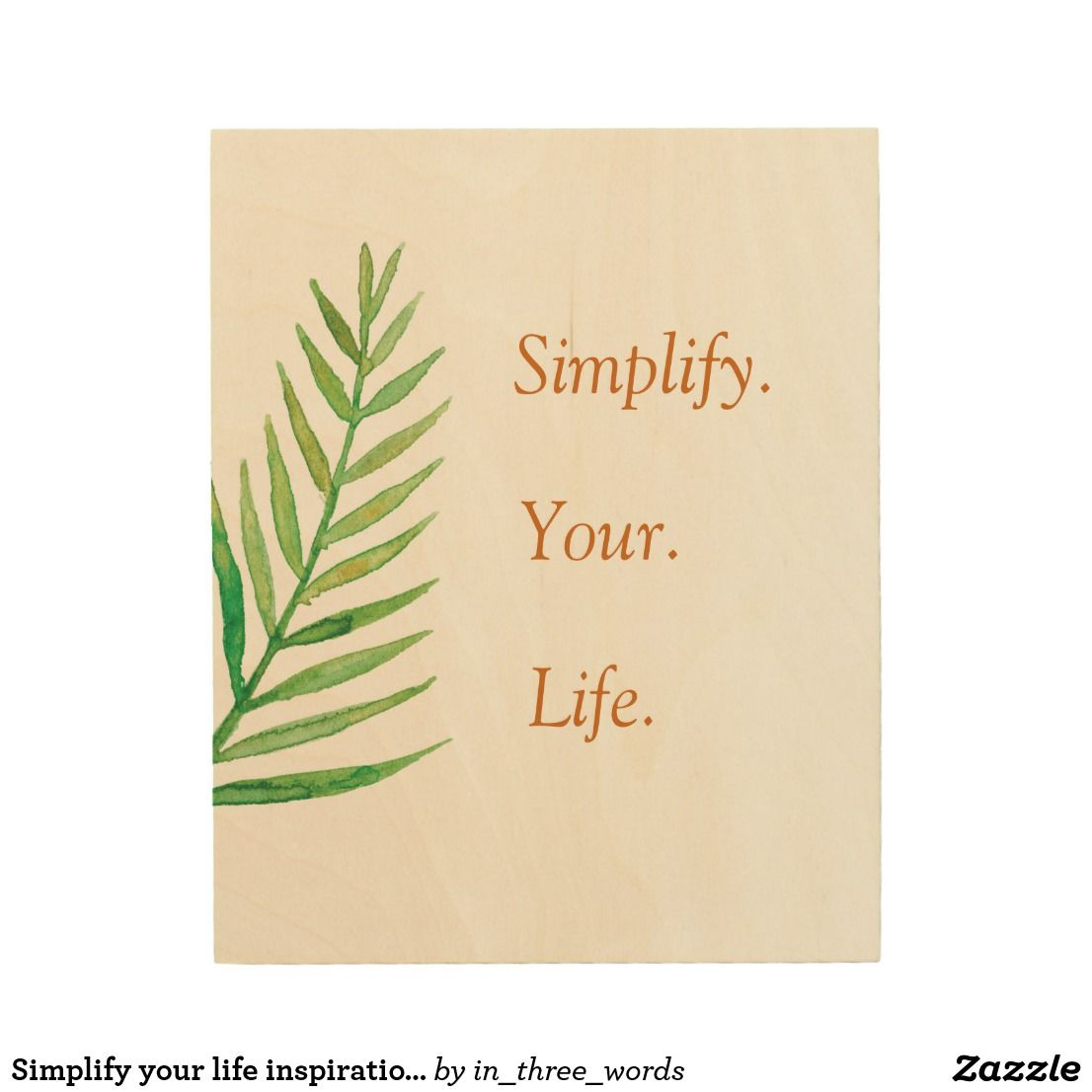 Simplify your life inspirational three words quote wood wall decor ...