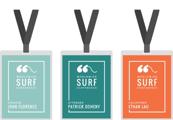 Surf Badge Png 600 416 Conference Badges Design Name Tag Design Print Design Brochure