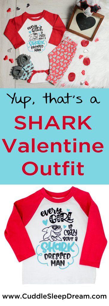 Shark Dressed Onesie Baby Boy Valentines Day