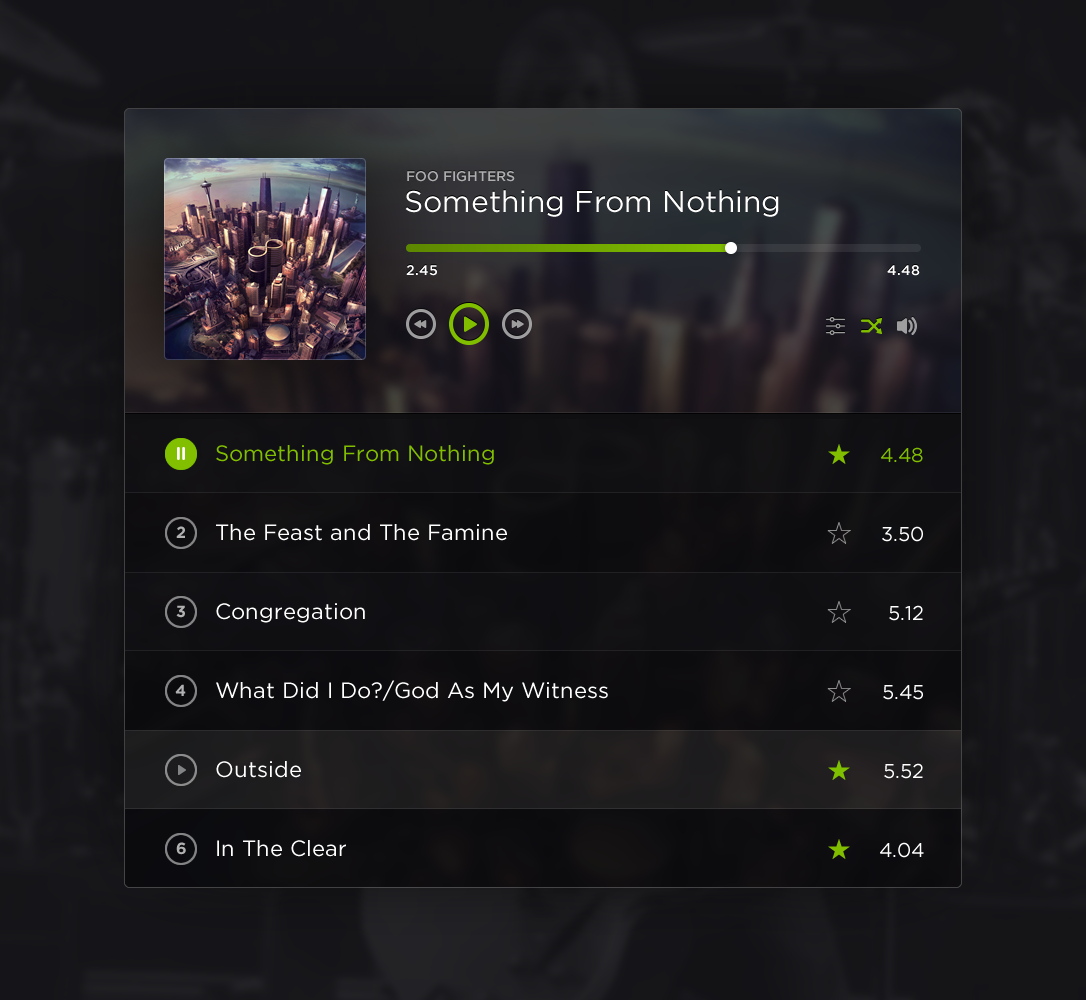 Foofighters spotify widget