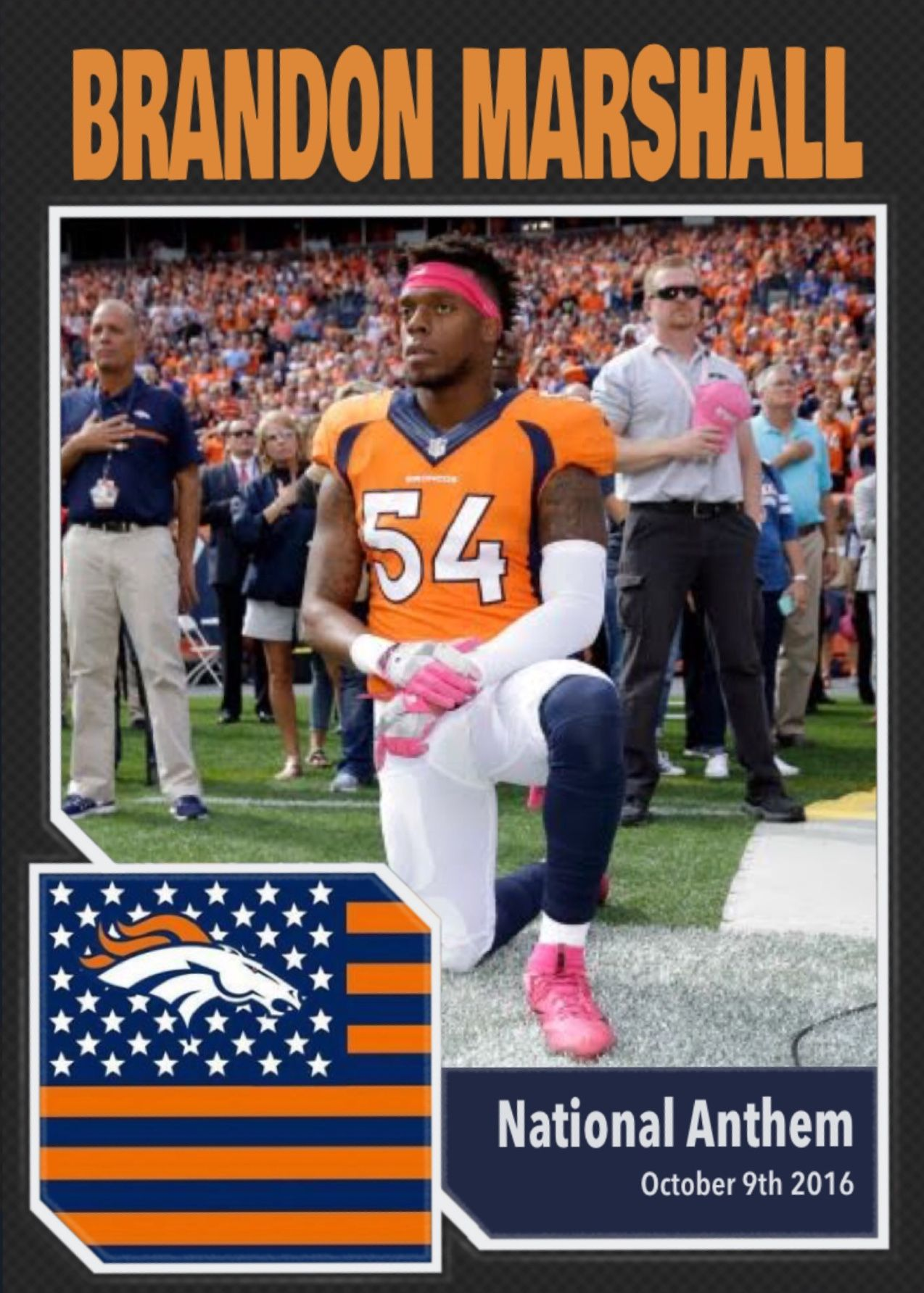 Denver Broncos Inside Linebacker Brandon Marshall 54 Kneels During The National Anthem Prior To An Nfl Footb Nfl Football Games Brandon Marshall Nfl Football