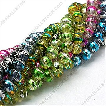 Drawbench Glass Beads Strands, Round, Mixed Color