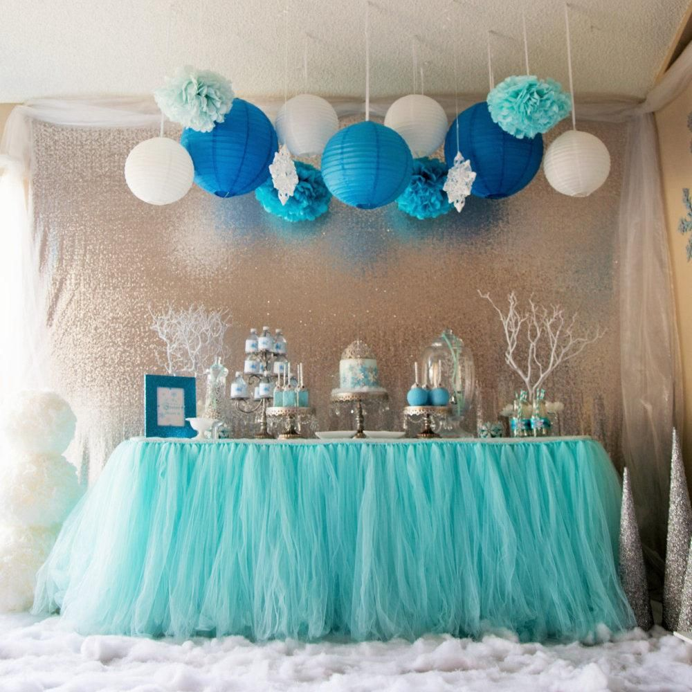 2016 Aqua Blue Tutu Table Skirt Custom Made Wedding Supplies Sashes Tulle Party Decorations Winter Wonderland From