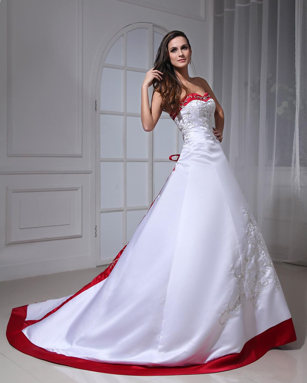 Satin Embroidery Two Tone Bridal Gown Wedding Dress  Vestidos de