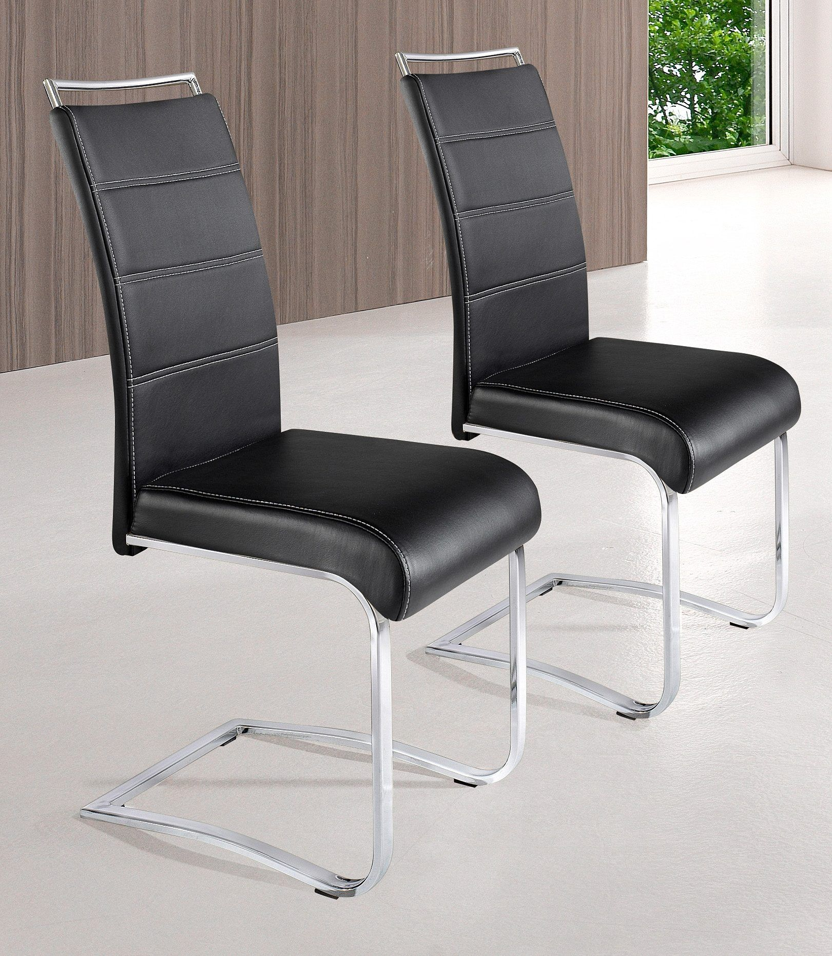 Stühle (2 Stck.) schwarz, Gestell Schwinger Flachrohr chrom ...