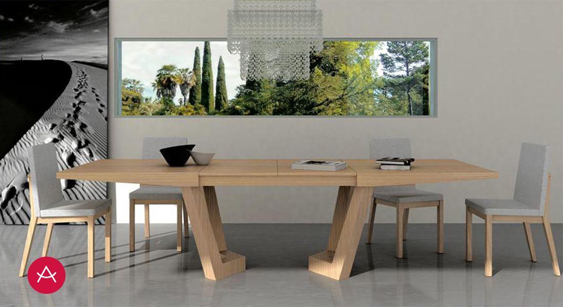 f72f9893 OLIMPIA - Mesa comedor extensible, apertura central, 2 extensibles 45 cms.  Patas remetidas