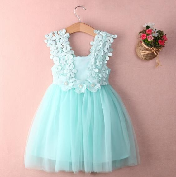 Kid Girl Lace Formal Tulle Tutu Dress Princess Pageant Wedding Party Sundress UK