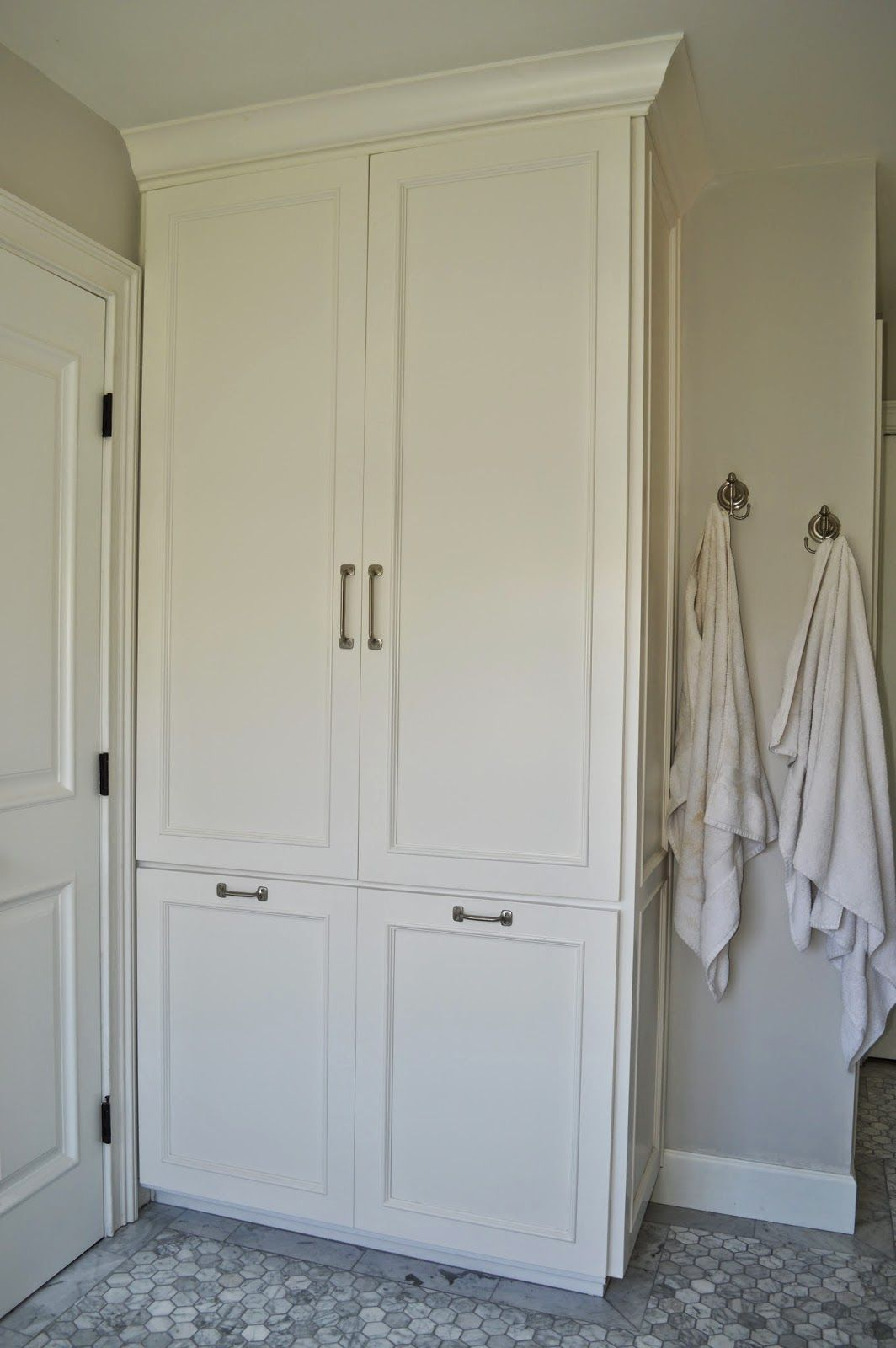 install tall cabinet instead of built out closet for linen storage ...