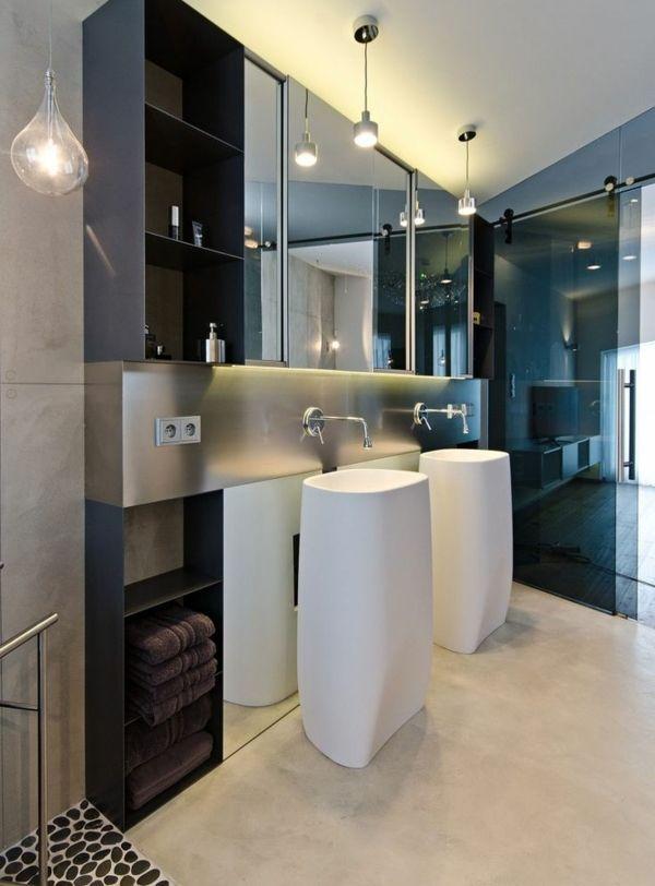 Möbel Waschbecken Spiegelschrank braun Badezimmer Ideen