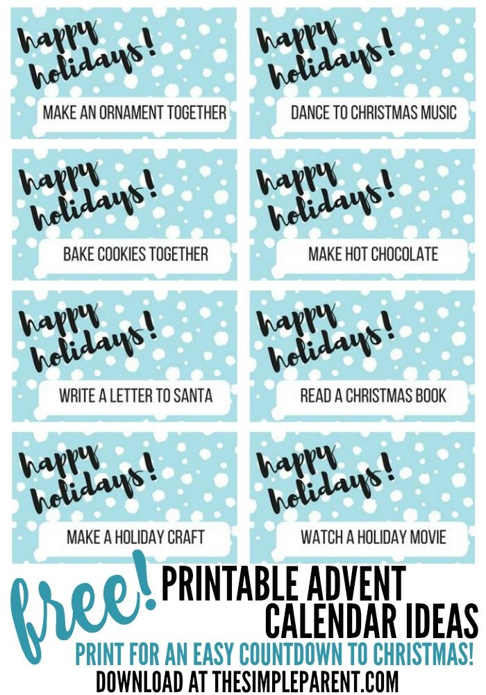 Download your free printable advent calendar activities to do with ...