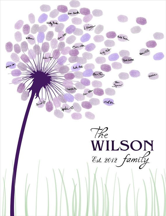 Photo of Wedding guest book, family tree, fingerprint guest book printable dandelion fingerprint signature anniversary, purple wedding guest book tree