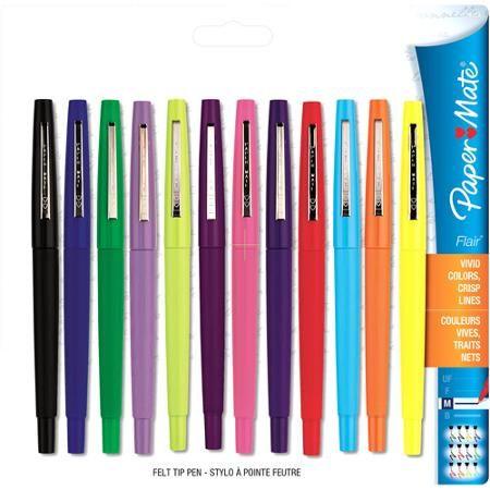 Paper Mate Flair Felt Tip Pens, Medium Point (0.7mm), Assorted Colors, 12  Count - Walmart.com