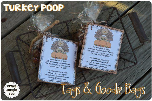 Turkey Poop} Tags  Goodie Bags with Free Printable Thanksgiving