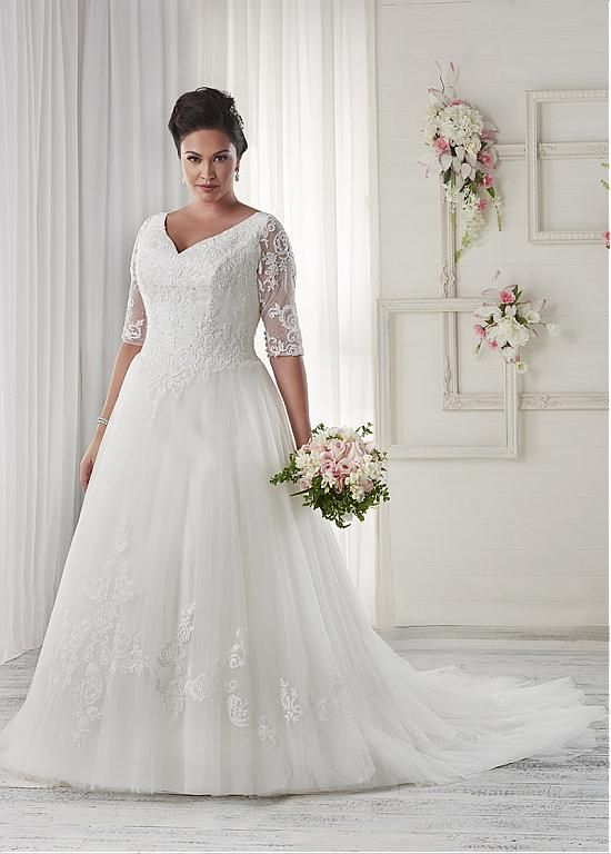 Buy discount Fabulous Tulle V-neck Neckline A-line Plus Size Wedding ...