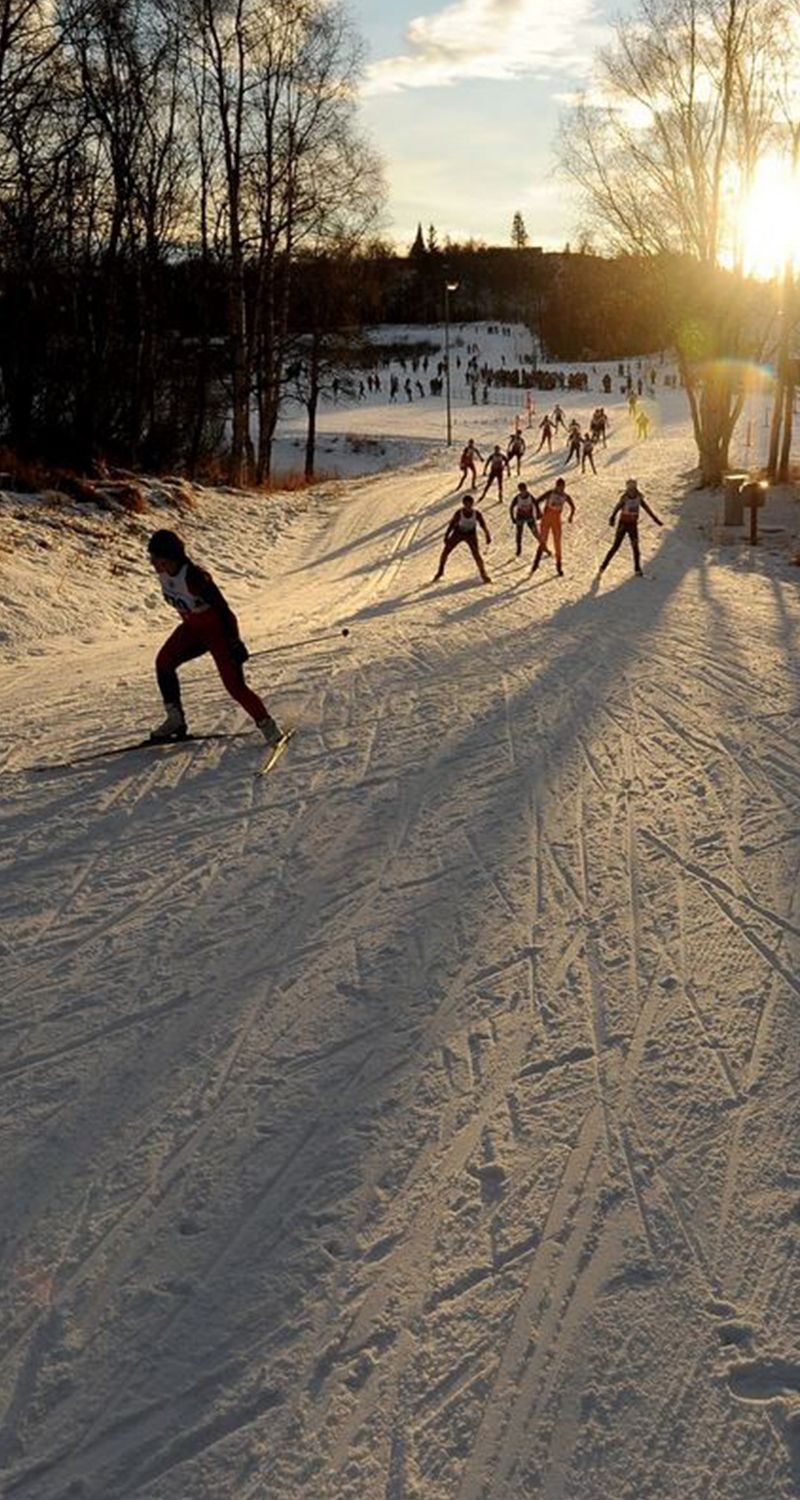 High School Skiers From Across The Region Compete In The Bartlett High 2x2x2 Sprint Relay Freestyle Cross Country Ski Races At Kincaid Park I Cross Country Skiing Ski Racing Alaska