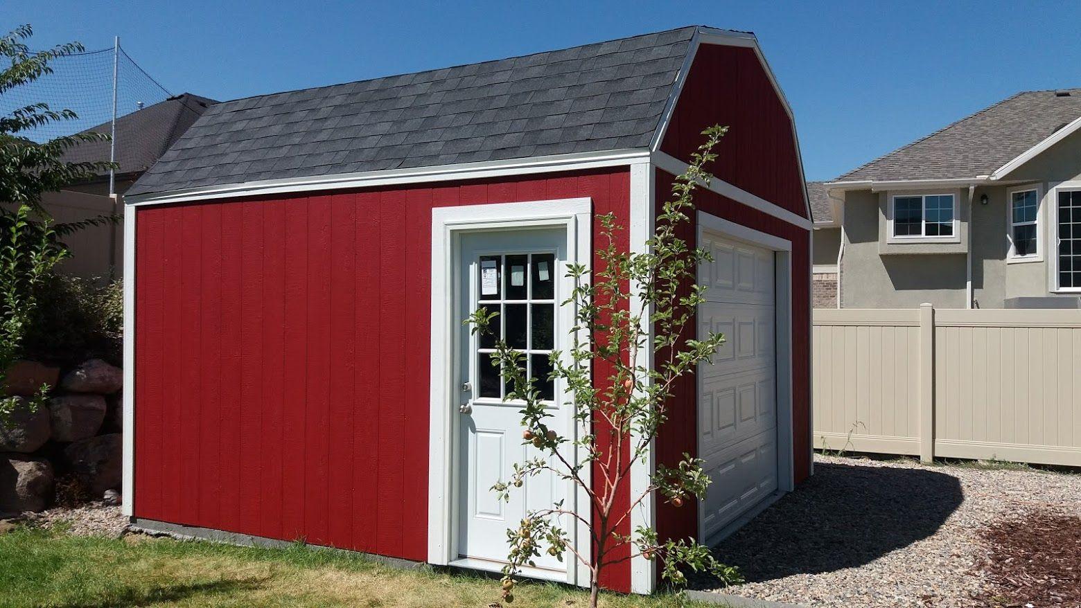 Garden Sheds 14 X 14 X 12 Barn Style Garage Door Loft Include Www Shedsbuilders Com Lehi Utah Shed Builders Backyard Buildings Custom Sheds