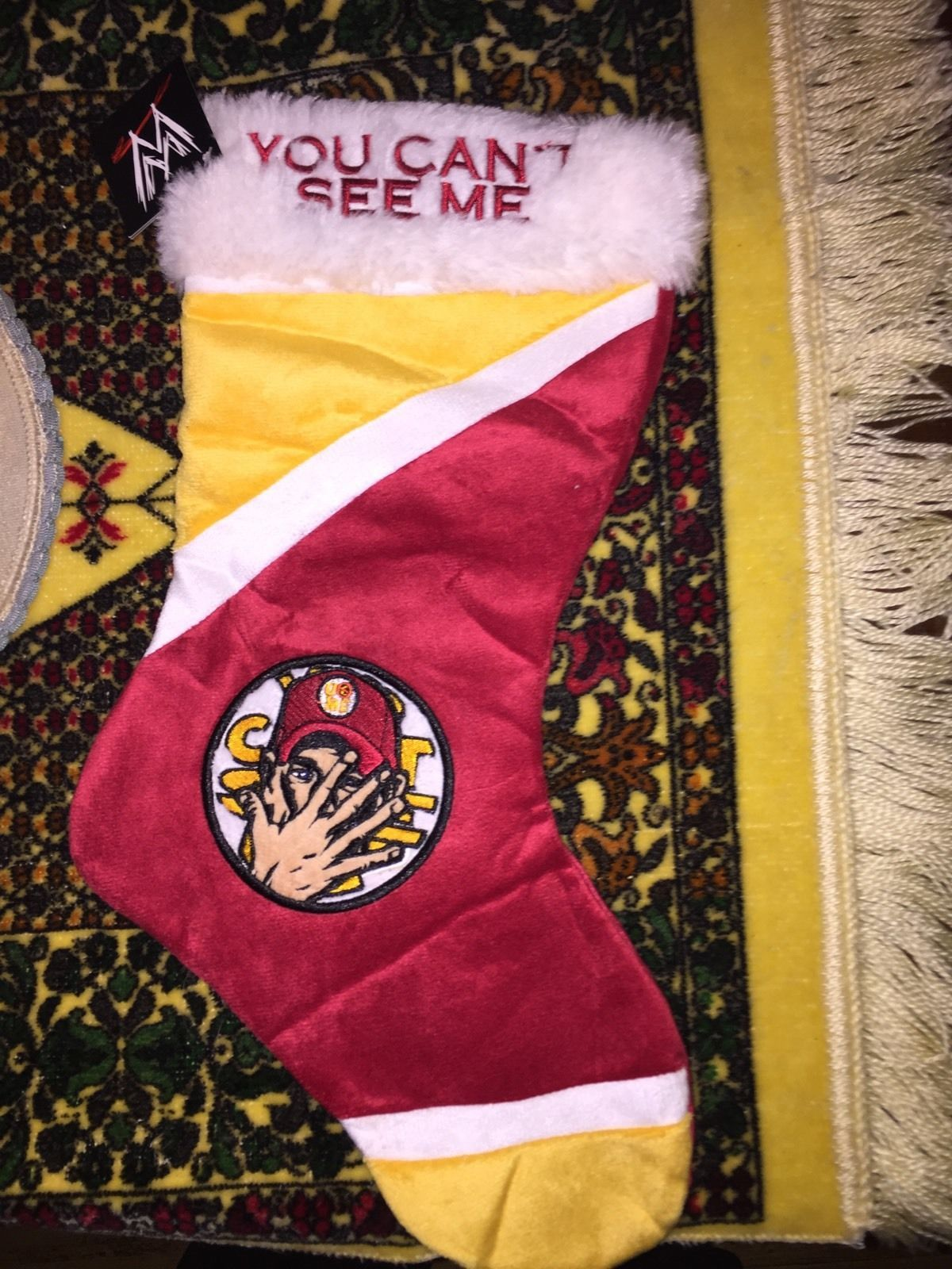 WWE John Cena Christmas Stocking And Santa Hat New WWF In Stock Red ...