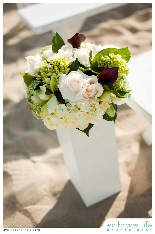 Beach Ceremony Flower Accents - Beach Wedding at the Sunset Restaurant - Malibu, California - Credit: www.EmbraceLifePhotos.com