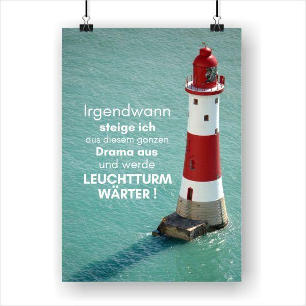 Meer Sprüche Poster Strand Meer Leuchtturmwärter Küstenglück
