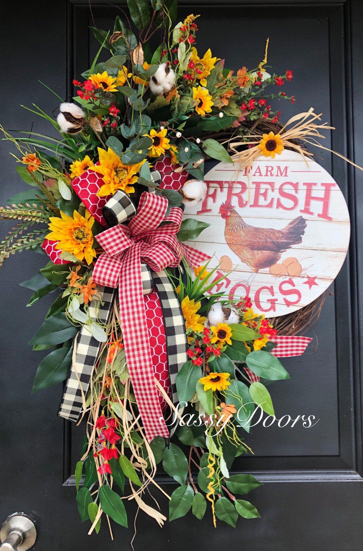 Farmhouse Wreath Wreath For Front Door Wreath With Hen