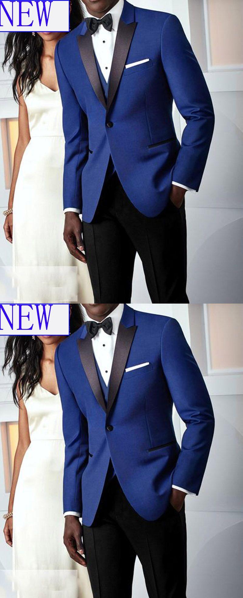 Peak Lapel Royal Blue and Black Groom Wedding Tuxedo Men