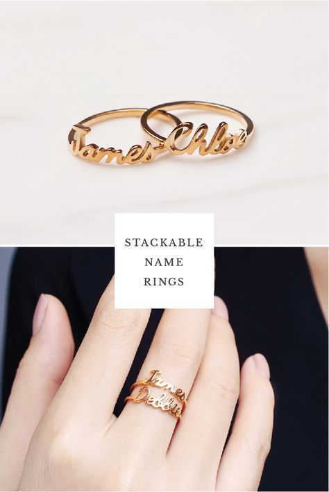 8345d7cc5da6c Stackable Name Ring - Chloe Font- Set 1-3 rings in 2019 | Sandra ...