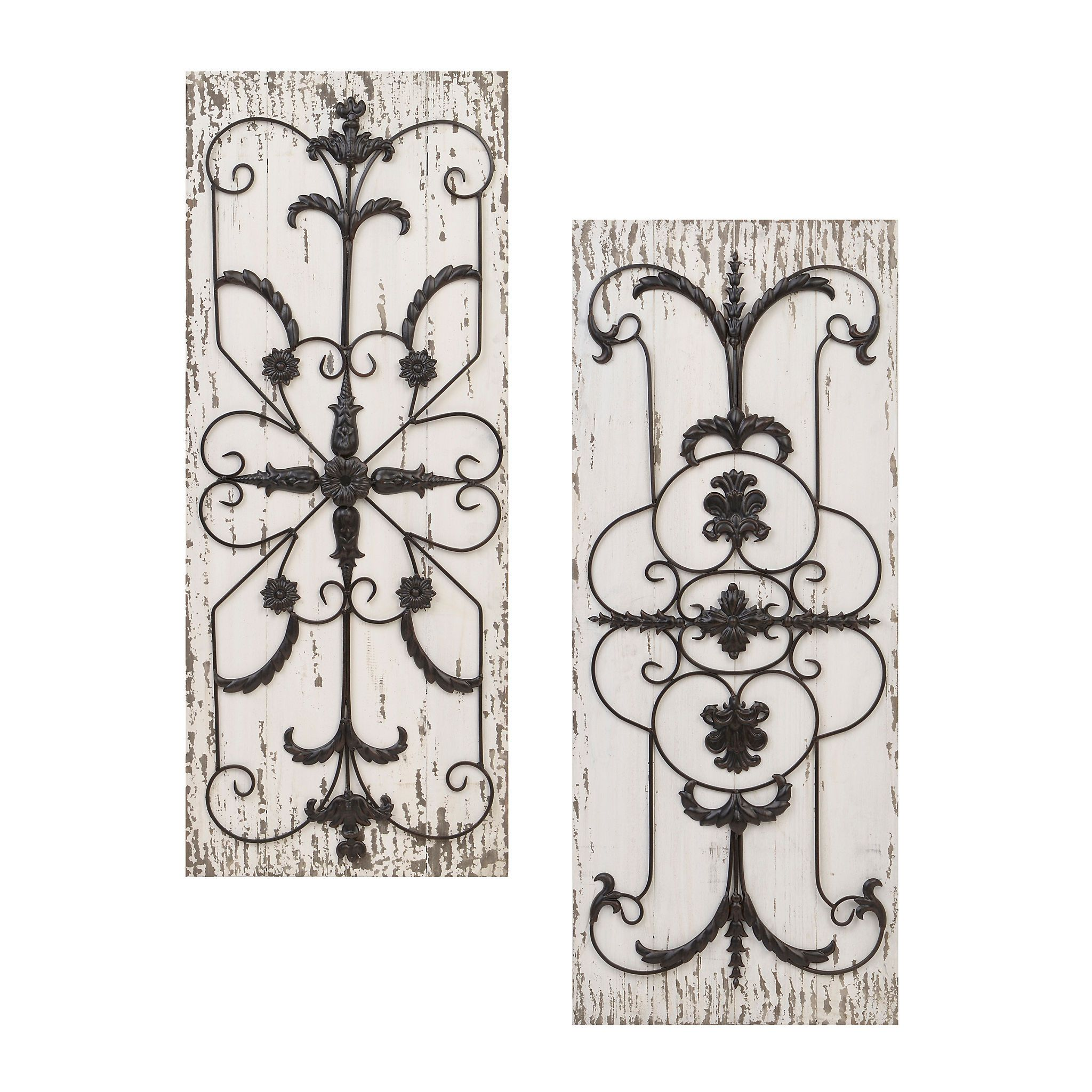 Adelaide Distressed White Wooden Plaque Set Of 2 Steampunk Home Decor Wood Wall Decor Wooden Wall Decor