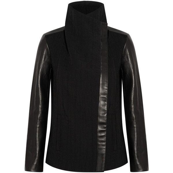 Helmut Lang Leather-paneled crinkled-crepe jacket featuring polyvore, fashion, clothing, outerwear, jackets, black, black zipper jacket, slim fit jacket, black zip jacket, slim leather jacket and asymmetrical leather jacket