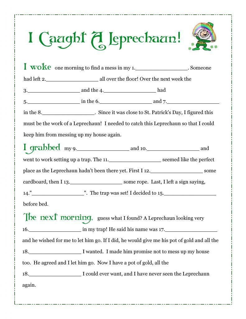 graphic about Printable Leprechaun Story identify I Trapped A Leprechaun! No cost Fill-Inside-Blank Printable Tale