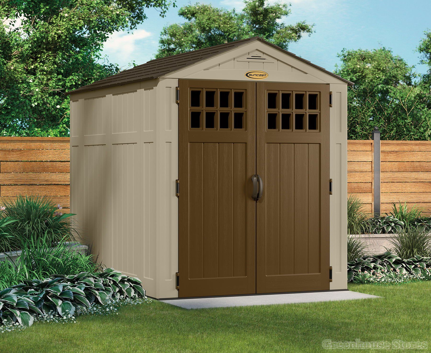 suncast 6x8 adlington three plastic garden shed httpwwwgreenhousestoresco