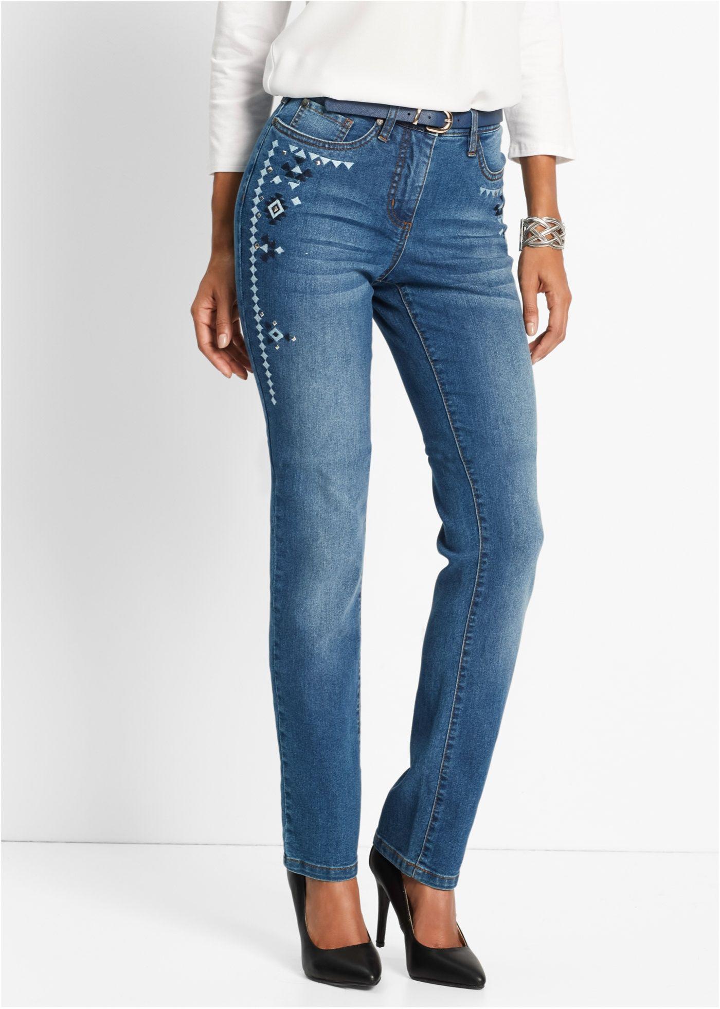 f53716d0942 Стрейтчевые джинсы с вышивкой