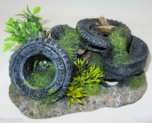 Details Zu Aquarium Deko 16cm Reifen Autoreifen Mit Pflanzen Höhle ... Dekoration Mit Autoreifen